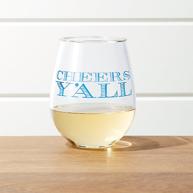 Cheers Y'All Acrylic Wine Glass - Image 1 of 5