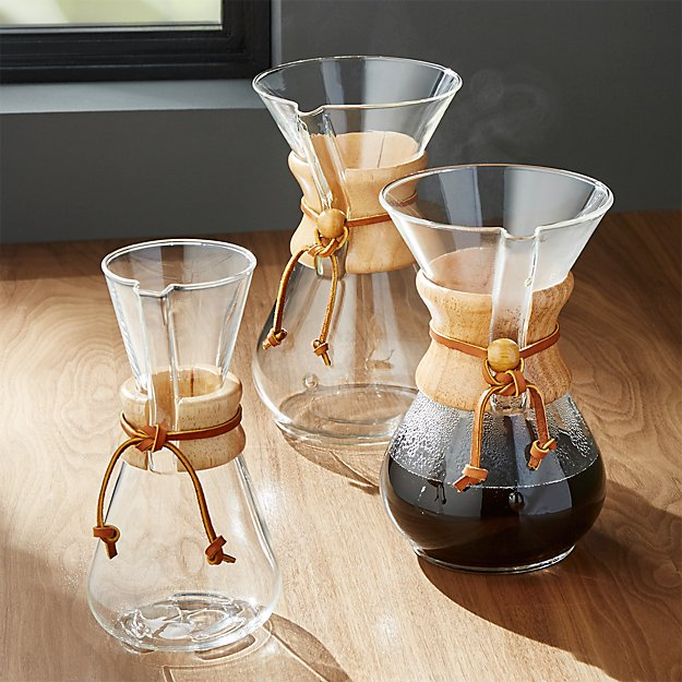 Chemex Coffee Maker ~ Chemex coffee makers with wood collar crate and barrel