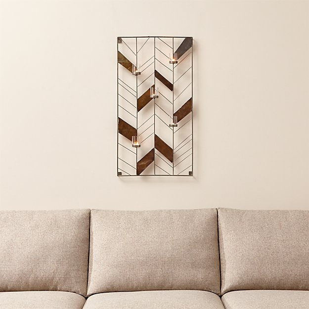 Chevron Metal Wall Candle Holder