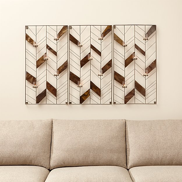 Set of 3 Chevron Wall Candle Holders