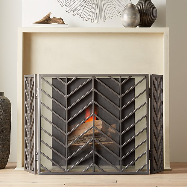 Chevron Pewter 3 Panel Fireplace Screen Reviews Crate And Barrel