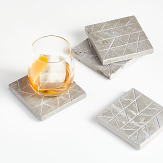Chevron Cement Coasters, Set of 4