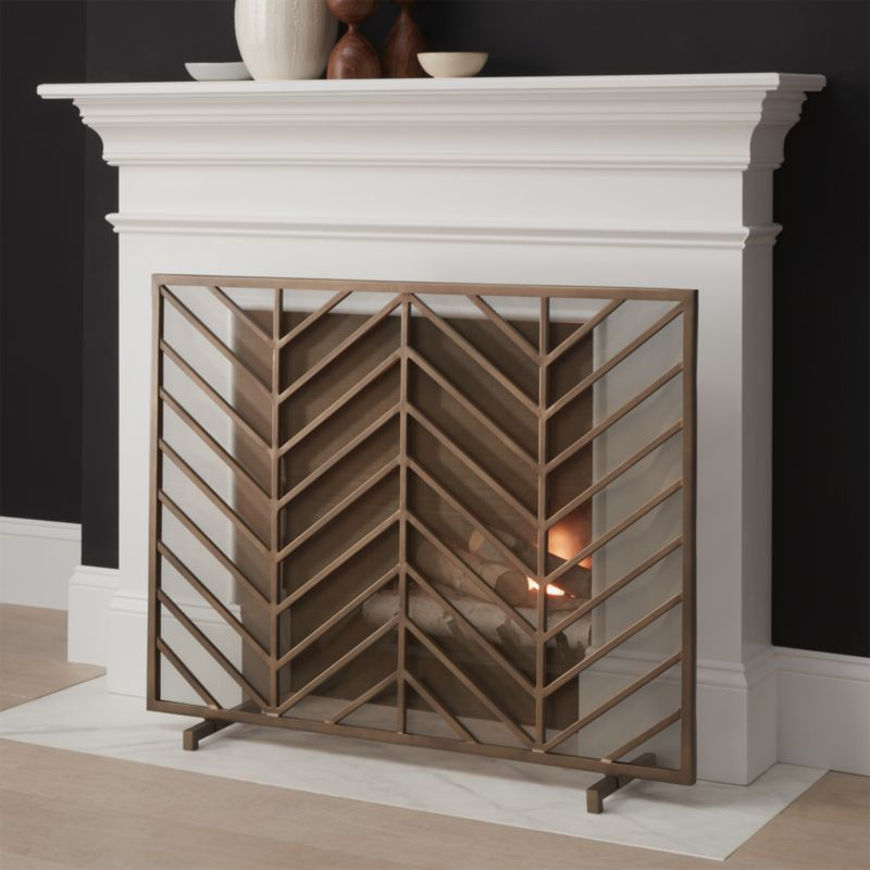 chevron brass fireplace screen - Decorative Fireplace