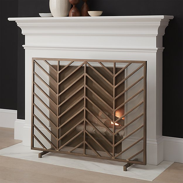 Chevron Brass Fireplace Screen Reviews Crate And Barrel
