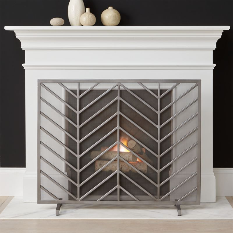 Chevron Fireplace Screen Reviews Crate And Barrel
