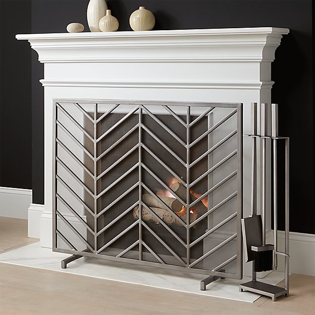 Chevron Fireplace Screen in Fireplace Accessories ...
