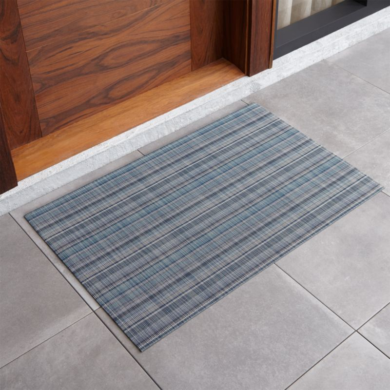 Chilewich ® Blue Madras Mat & Door Mats and Boot Trays for Indoor/Outdoor | Crate and Barrel