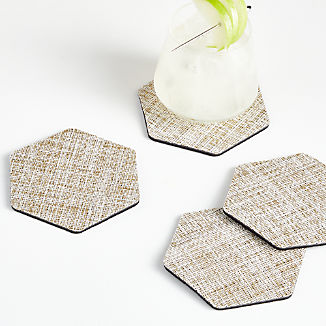 Chilewich Crepe Neutral Coasters, Set of 4