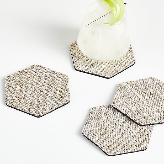 Chilewich Crepe Neutral Coasters, Set of 4 - Image 1 of 3