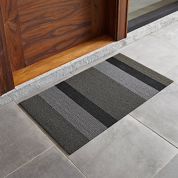 """Chilewich ® Silver-Black Striped 20""""x36"""" Doormat - Image 1 of 4"""