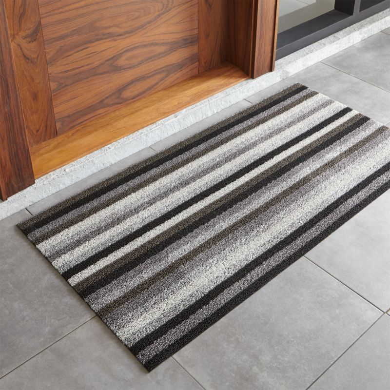 Chilewich Grey and Black Doormat | Crate and Barrel