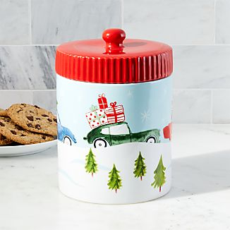 Christmas Cars Cookie Jar