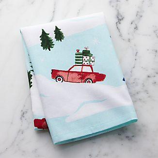 Christmas Cars Dish Towel