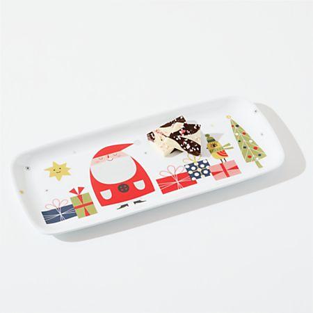 Melamine Christmas Platters.Christmas Whimsy Melamine Holiday Platter Crate And Barrel