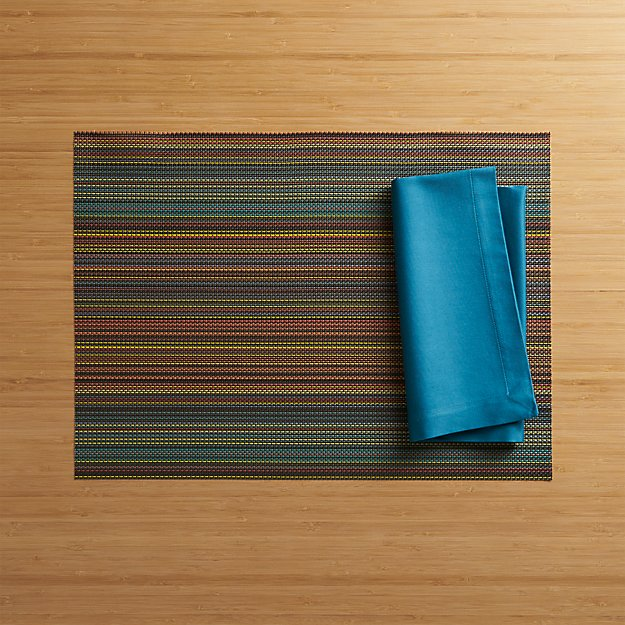 Chilewich ® Chroma Dark Stripe Placemat and Fete Corsair Cotton Napkin