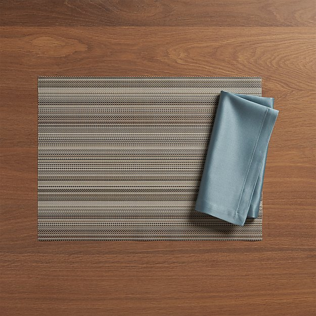 Chilewich ® Chroma Grey Stripe Vinyl Placemat and Sateen Smoke Napkin