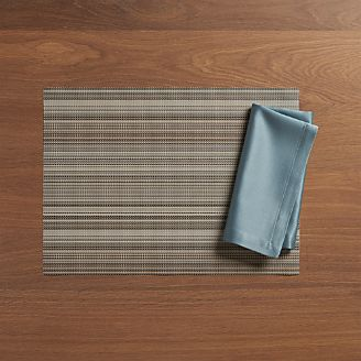 Chilewich ® Chroma Grey Stripe Vinyl Placemat And Sateen Smoke Napkin