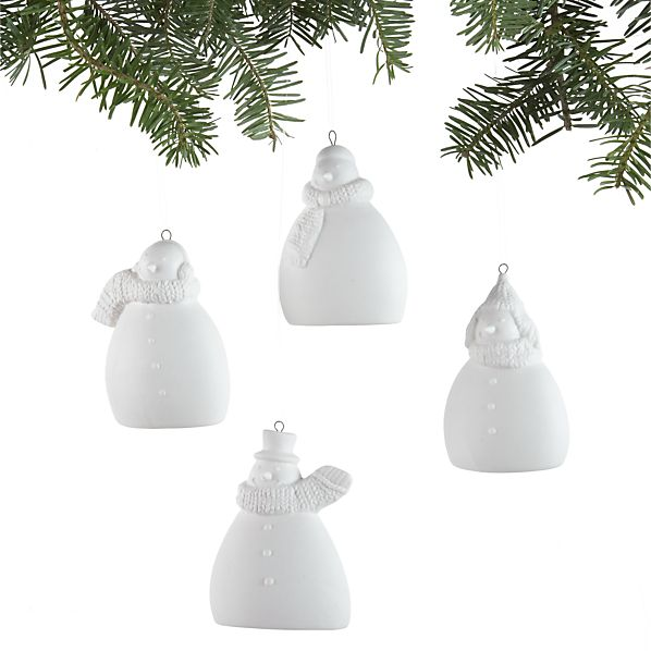 Set of 4 Chubby Ceramic Snowman Ornaments