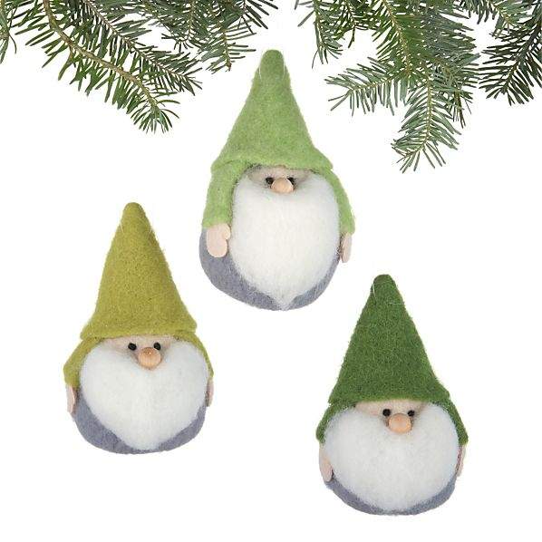Set of 3 Chubby Gnome Ornaments