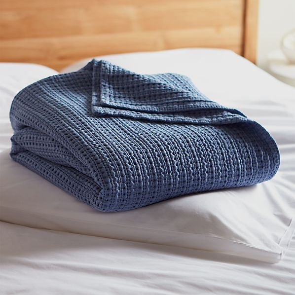 Chunky Blue Full-Queen Cotton Blanket