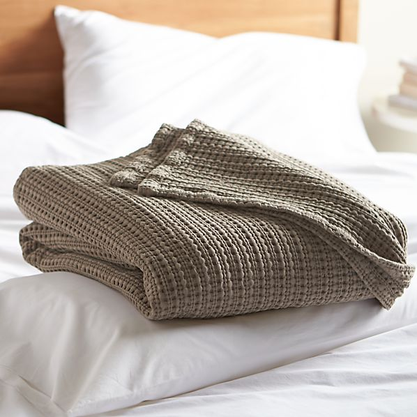Chunky Taupe Full-Queen Cotton Blanket