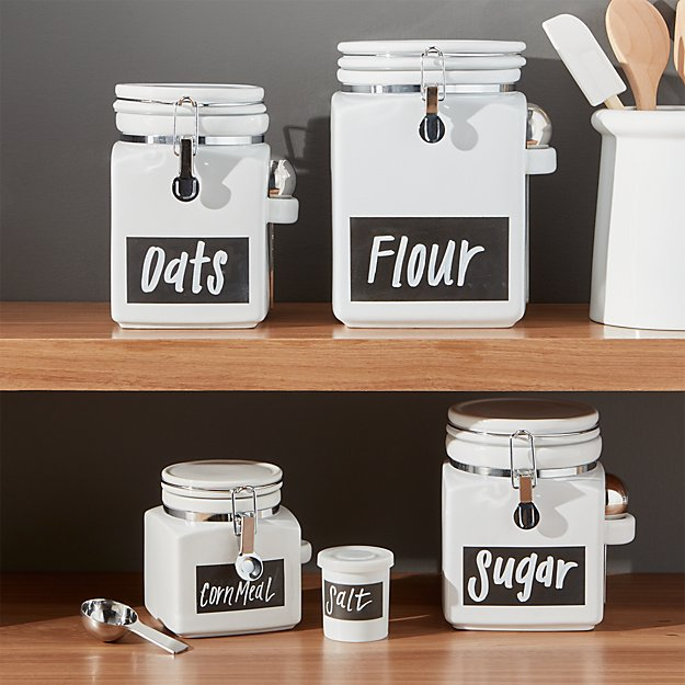Clamp Canisters With Chalkboard Crate And Barrel