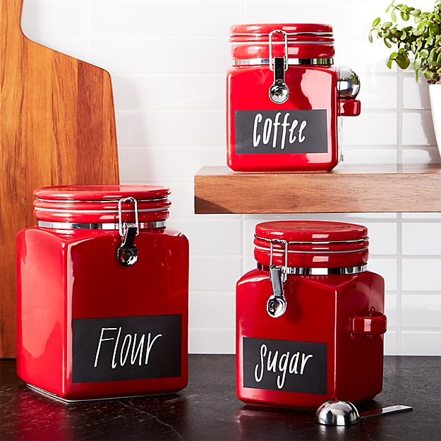Red Clamp Canisters With Chalkboard