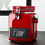 Large Red Clamp Canister With Chalkboard