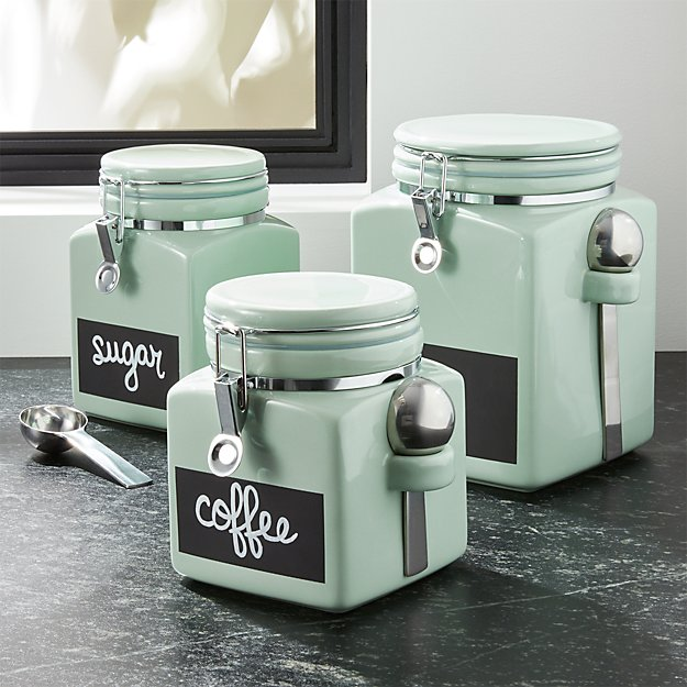 Pistachio Clamp Canisters with Chalkboard