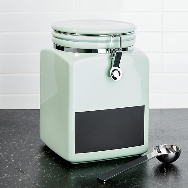 Large Pistachio Clamp Canister with Chalkboard