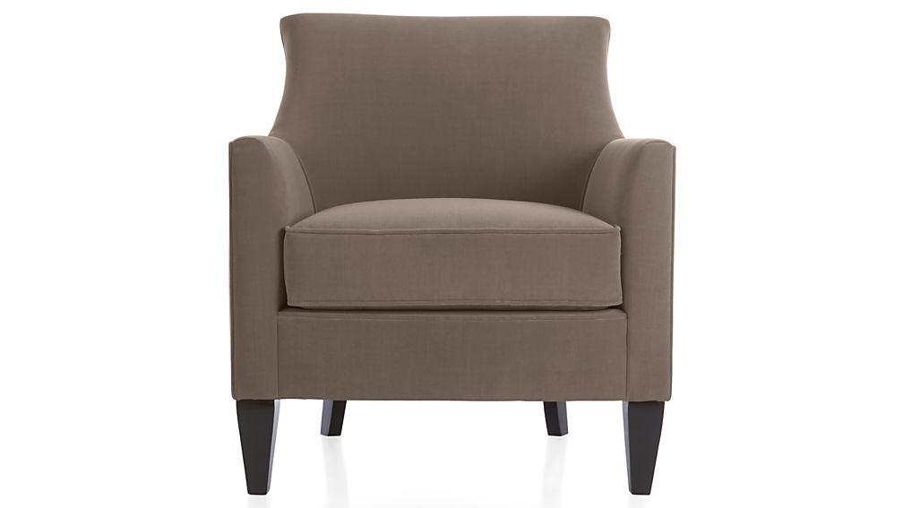 clara grey velvet armchair crate and barrel