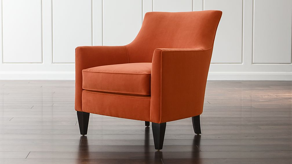 Clara orange living room chair crate and barrel Crate and barrel living room chairs