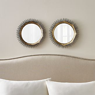 Clarendon Small Round Brass Wall Mirrors, Set of 2