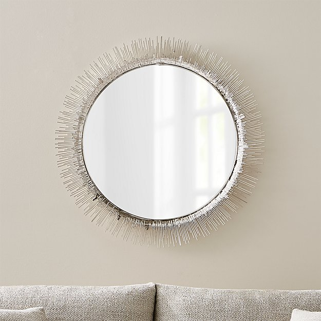 Clarendon large round silver wall mirror crate and barrel for Big silver wall mirrors