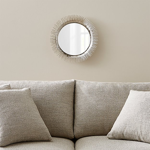 Clarendon small round silver wall mirror crate and barrel for Small silver mirror
