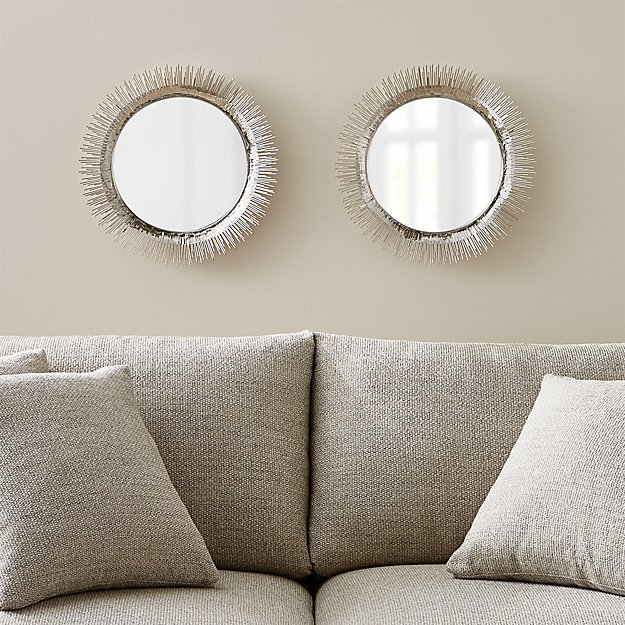 Set Of 2 Clarendon Small Round Silver Wall Mirror | Crate And Barrel