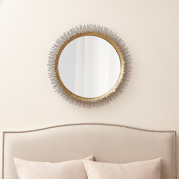 Clarendon Brass Large Round Wall Mirror