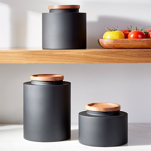 black canisters for kitchen clark matte black canisters crate and barrel 7547