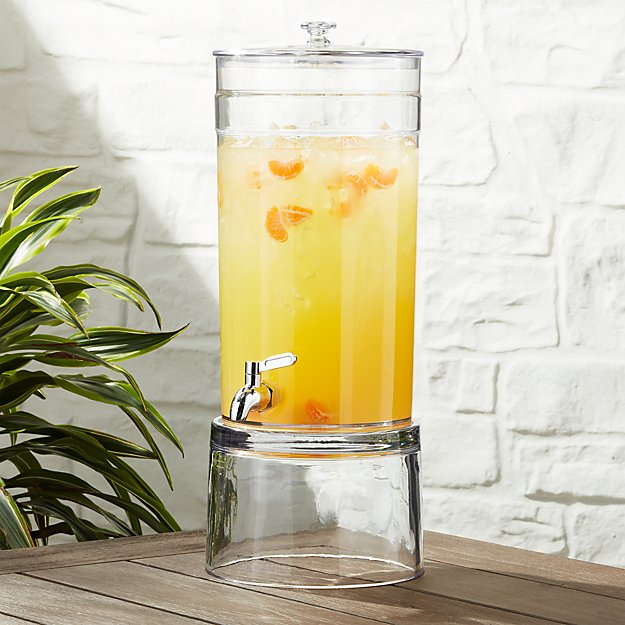 Claro Acrylic Drink Dispenser with Glass Stand - Image 1 of 2