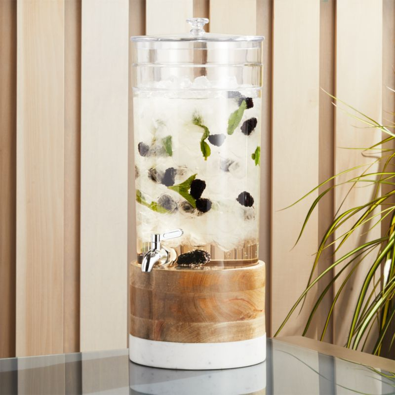 Claro Acrylic Drink Dispenser With Wood And Marble Stand