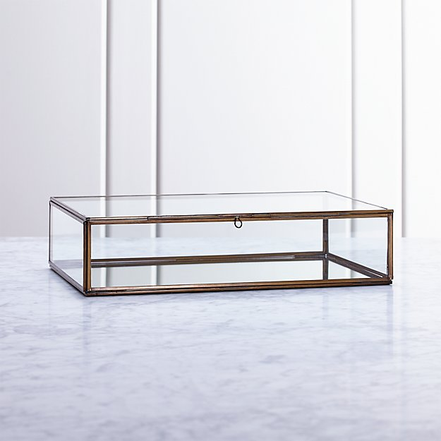 Clarus Large Brass Glass Display/Jewelry Box