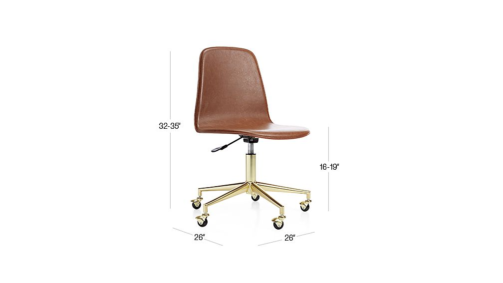 TAP TO ZOOM Image With Dimension For Kids Class Act Brown And Gold Desk  Chair