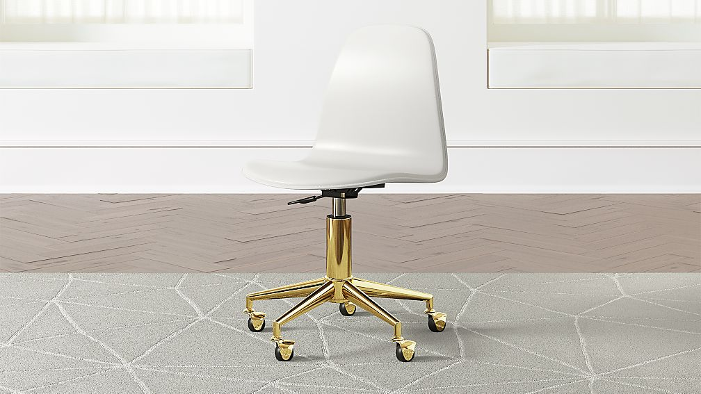 Kids Class Act White And Gold Desk Chair Crate And Barrel