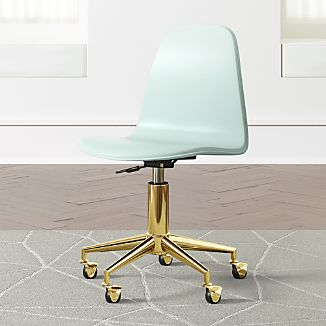 Kids Cl Act Mint And Gold Desk Chair