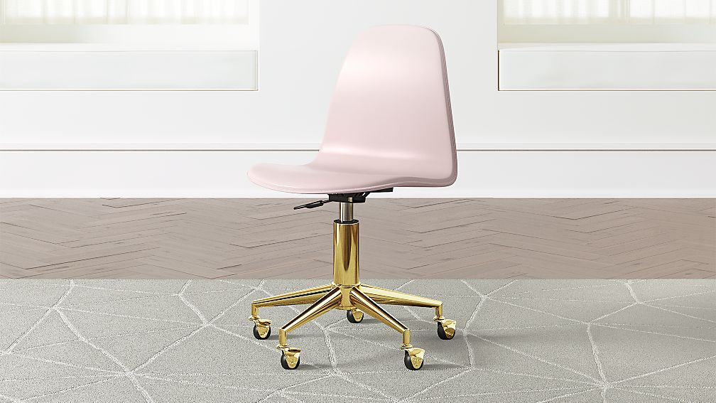 Kids Pink and Gold Desk Chair + Reviews | Crate and Barrel
