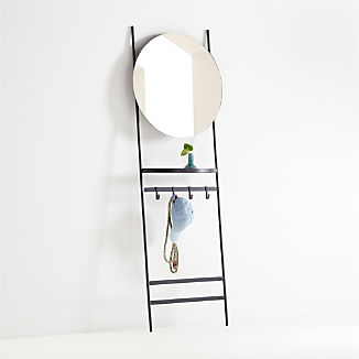 Clay Leaning Mirror with Hooks