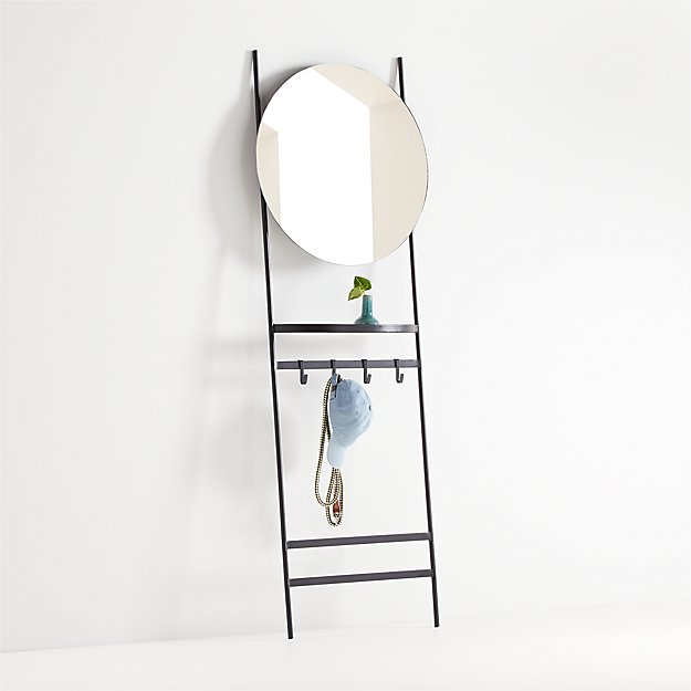 Clay Leaning Mirror with Hooks - Image 1 of 4