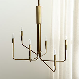 Clive 6-Arm Brass Chandelier