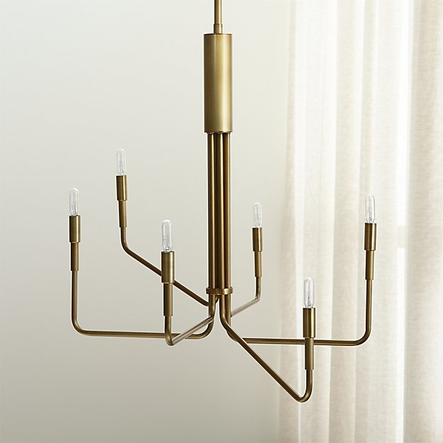 Clive 6-Arm Brass Chandelier - Image 1 of 8