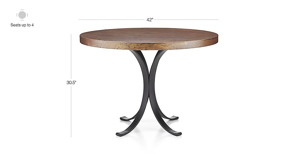 """Image with dimension for Cobre 42"""" Round Iron Bistro Table with Copper Top"""